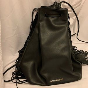 Black Victoria Secret Fringe Backpack